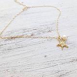 Браслет на ніжку золотистий Морська зірка, фото 3