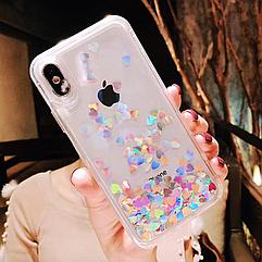 """Чехол накладка силикон """"Блестки"""" для iPhone 7/8 - Clear"""