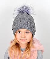 """Детская шапка с помпоном и жемчугом """"Фиби"""" Серый темный, фото 1"""