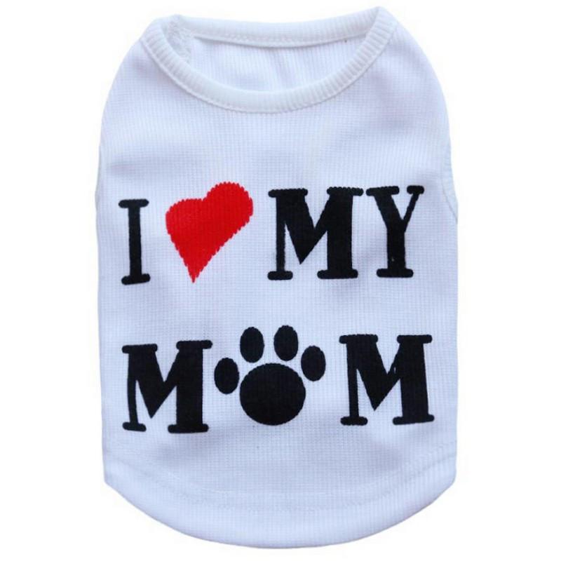Майка для собак маленьких пород белая I Love My Mommy
