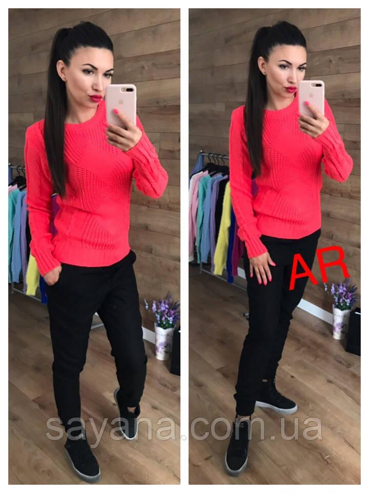 Женский свитер крупной ажурной вязки в расцветках. АР-17-1018