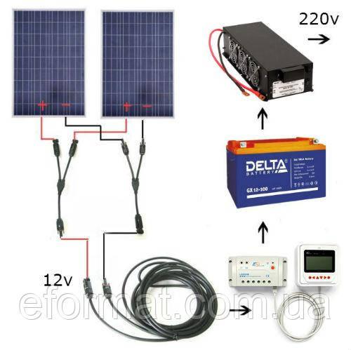 Автономная солнечная электростанция 3 кВт*ч, емкость АКБ 1 кВт*ч