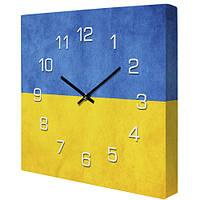 Настенные часы на холсте Прапор 35х35 см (CH_P_UKR042)