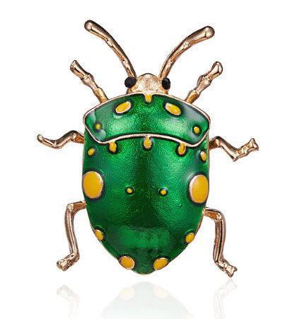 Брошь в виде жука Клопа зеленая