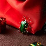 Брошь в виде жука Клопа зеленая, фото 2