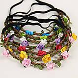 Веночек повязка цветы малинового цвета, фото 4