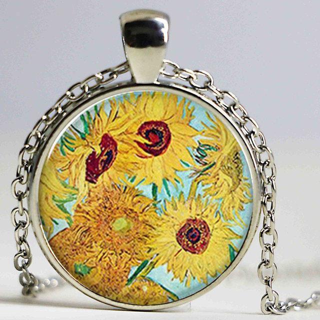 Оригінальний кулон картина Соняшники Ван Гога