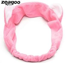 Повязка на голову для девочки с ушками розовая