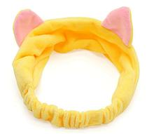 Повязка для волос с ушками желтая