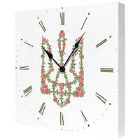 "Часы на холсте ""Квітучий герб"""