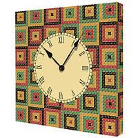 Настенные часы на холсте Квадратики 35х35 см (CH_K_UKR023)