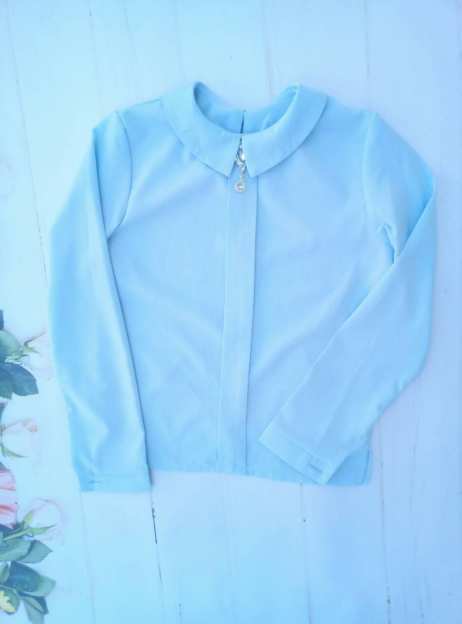 """Школьная блузка для девочки """"Брошь"""", р. 128-152, цвет голубой"""
