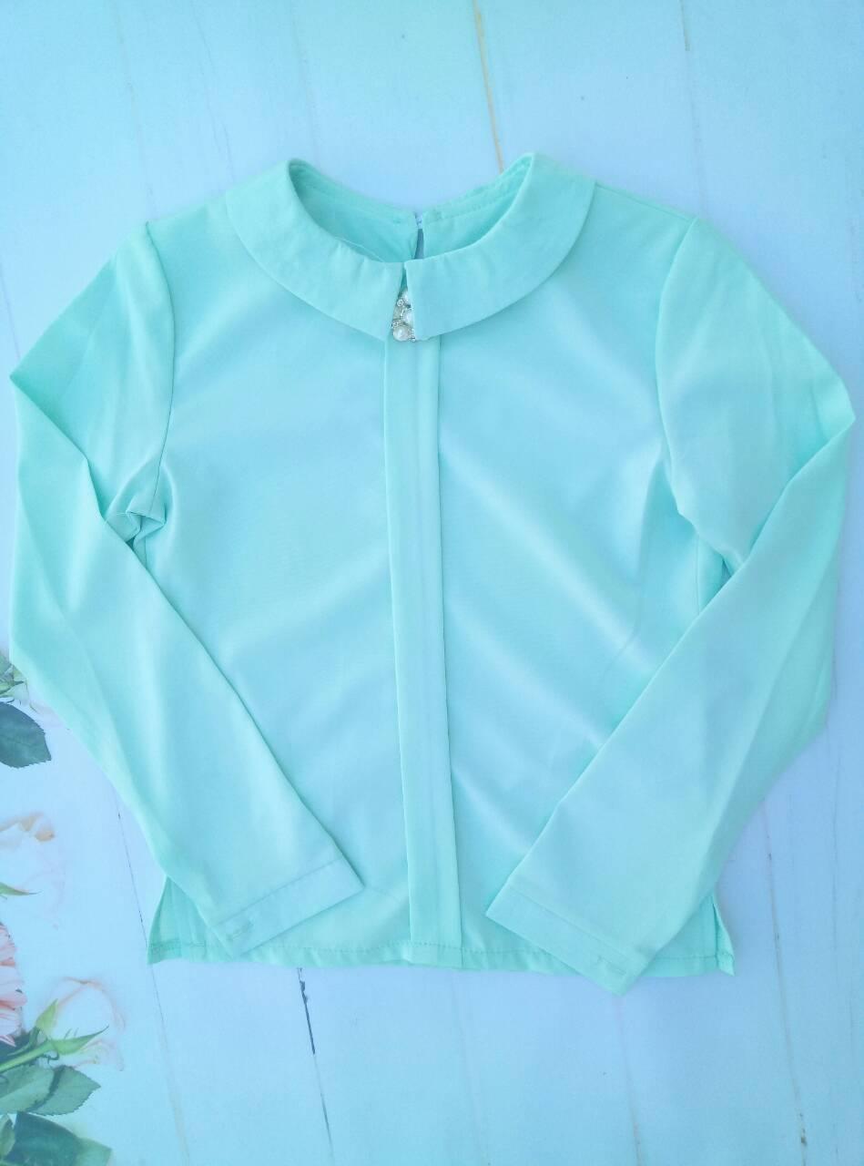 """Школьная блузка для девочки """"Брошь"""", р. 128-152, цвет бирюза"""