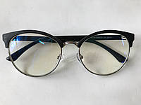 Очки для компьютера, компьютерные очки антиблик, круглые, в комбинированной оправе ЕАЕ 2143 черные
