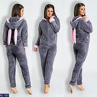 Пижамка махровая теплая женская с ушками  серая розовая 46-48 42-44