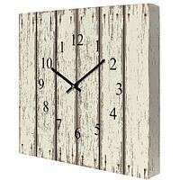 Настенные часы на холсте Доски 35х35 см белые (CH_P_14I006)