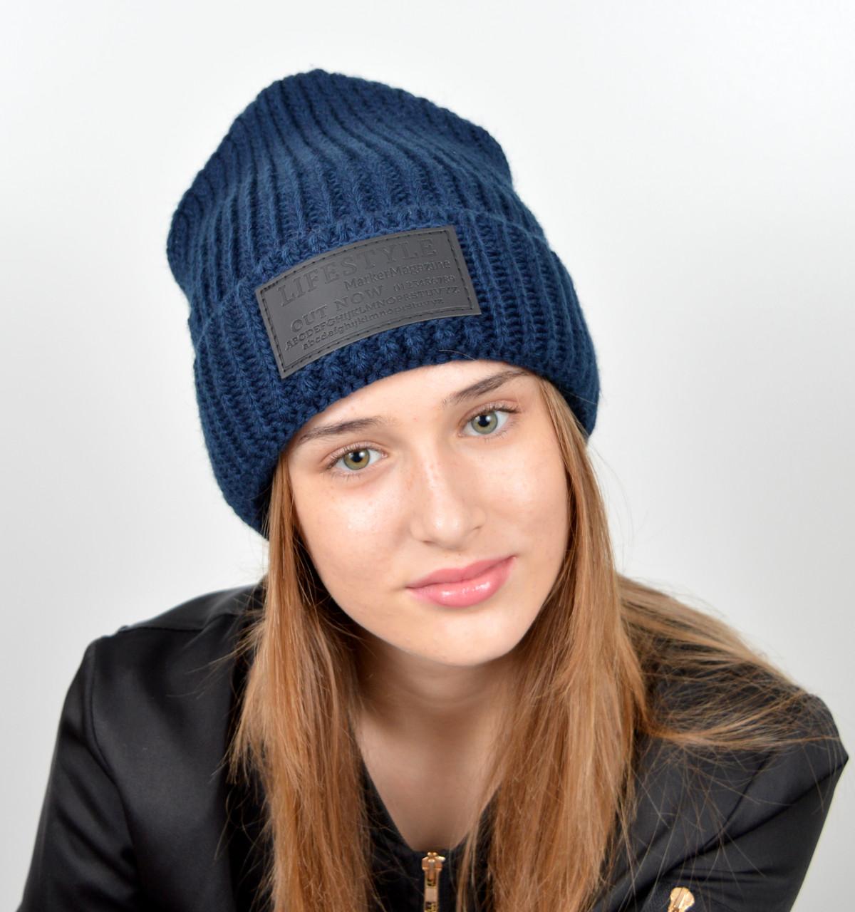 Молодежная шапка на флисе 3353 Синий
