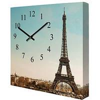 Настенные часы на холсте Эйфелева башня 35х35 см (CH_P_14I002)
