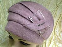 Женская объемная шапка -берет  цвет розовый