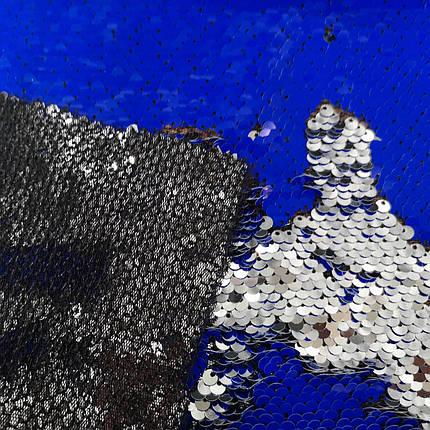 """Тканина з паєтками двостороння """"луска"""" електрик-срібло (від 20м), фото 2"""
