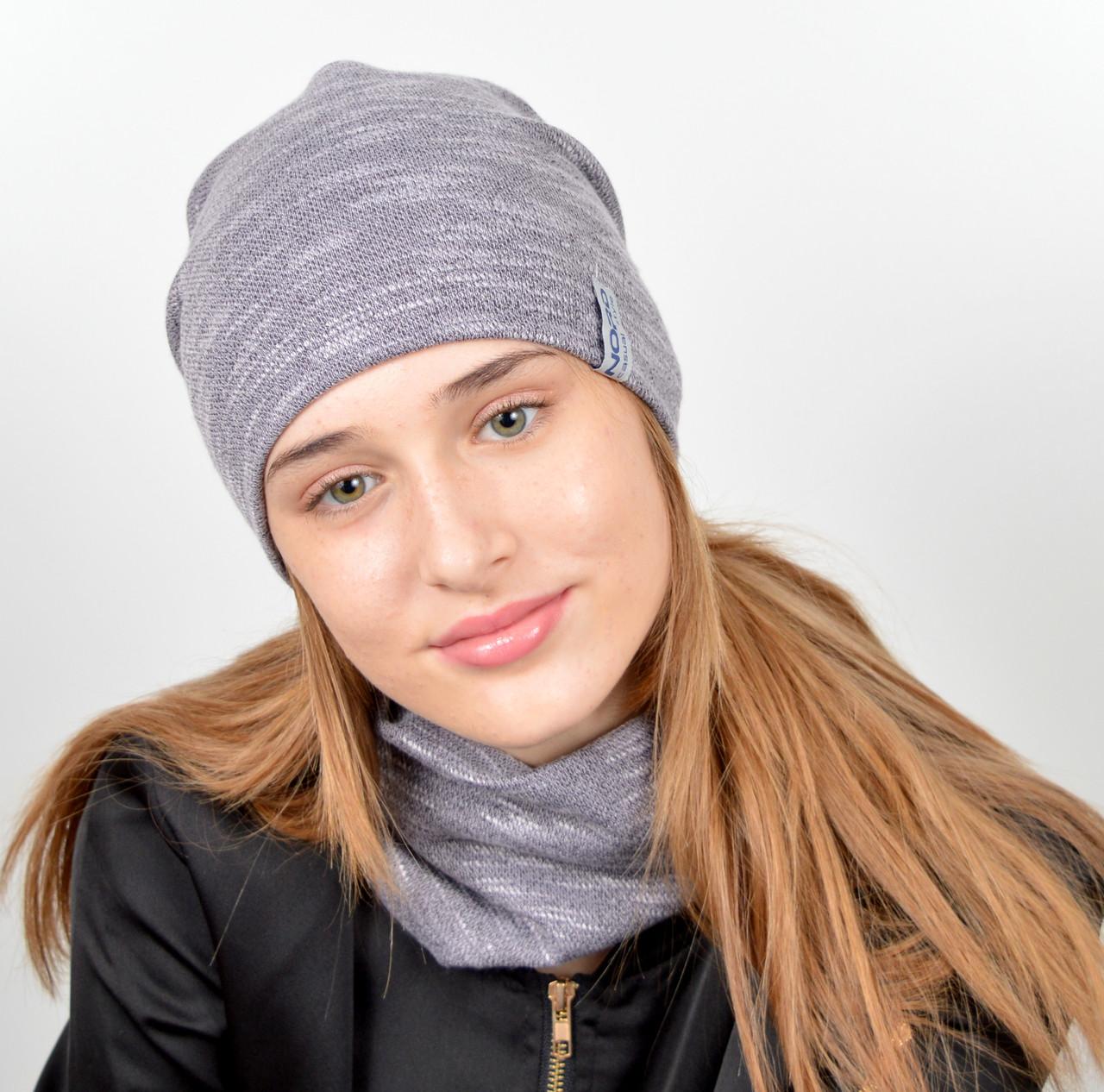 """Подростковый комплект """"Джерси""""(шапка+хомут) GR-18016 Серый"""