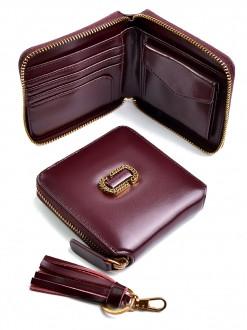 Женский кожаный кошелек на молнии, квадрат, бордо