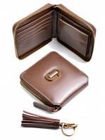 Женский кожаный кошелек на молнии, квадрат, кофе