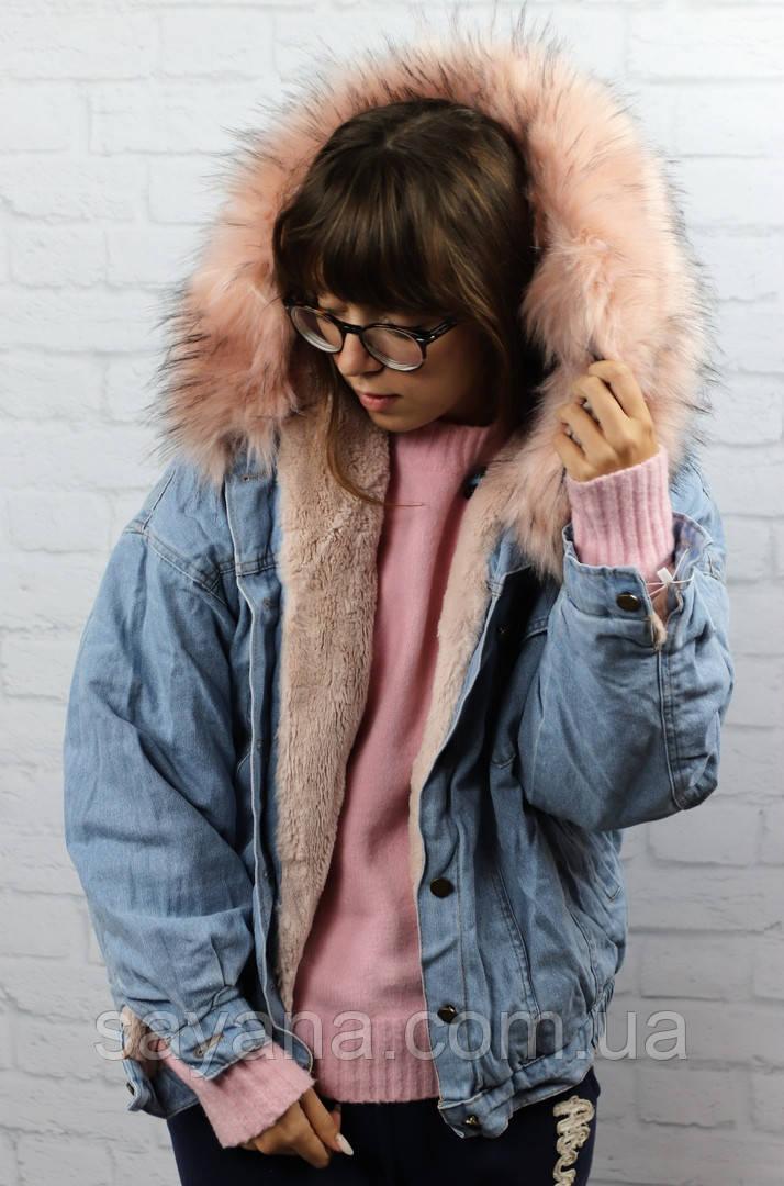 Женская джинсовая куртка на меху с капюшоном в расцветках. БР-3-1018