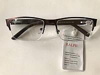 Очки с диоптриями в металлической полуоправе. Модель 0591 коричневые, фото 1