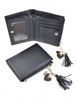 Женский кожаный кошелек на кнопке, квадрат