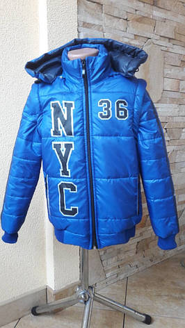 Красива модна куртка-жилетка з капюшоном для хлопчиків 110-128, фото 2