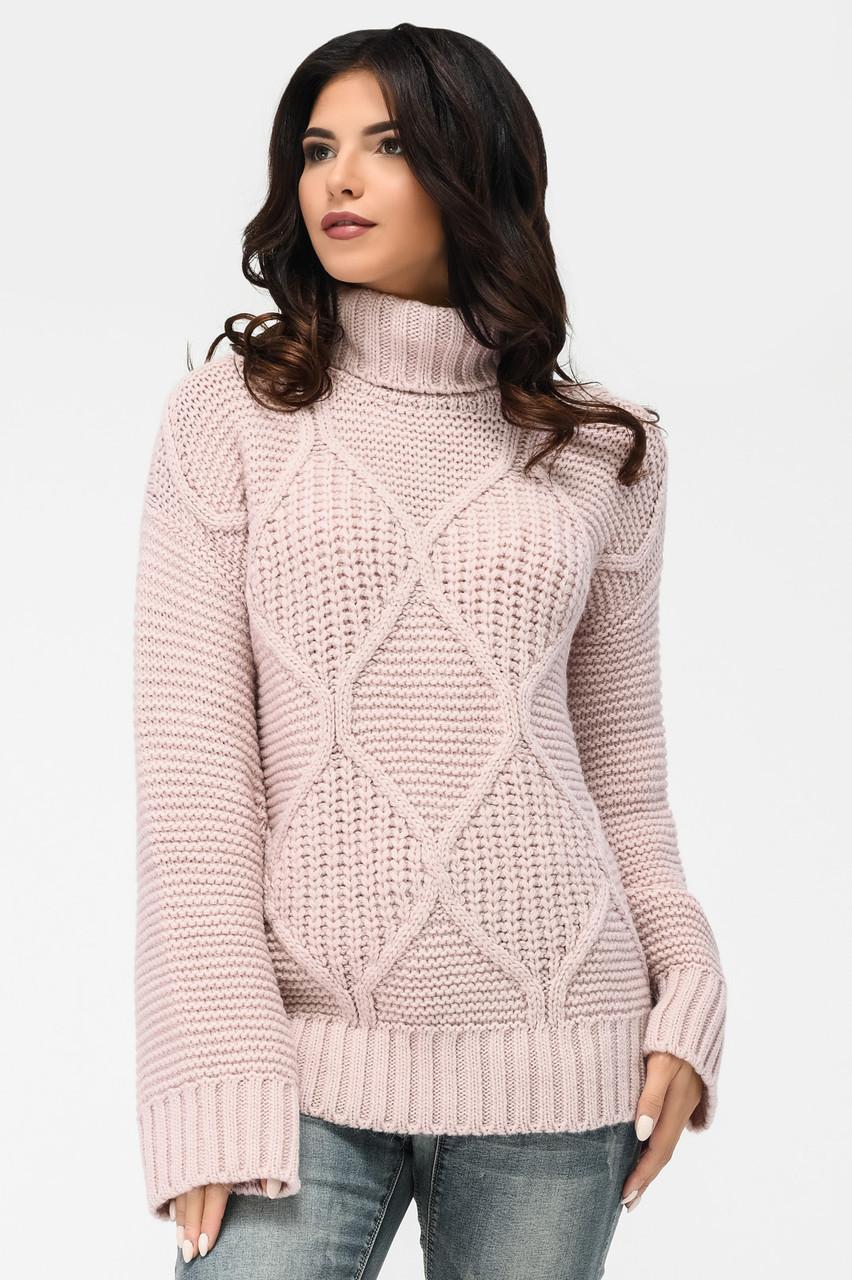 Вязаный женский свитер под горло пудра