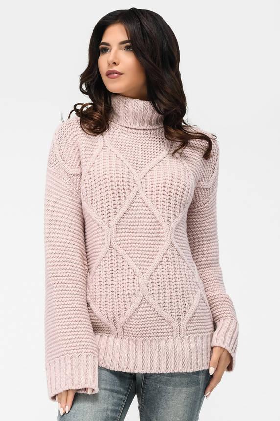 Вязаный женский свитер под горло пудра, фото 2