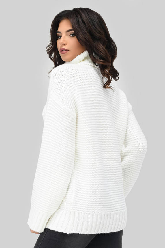 Вязаный женский свитер под горло белый, фото 2