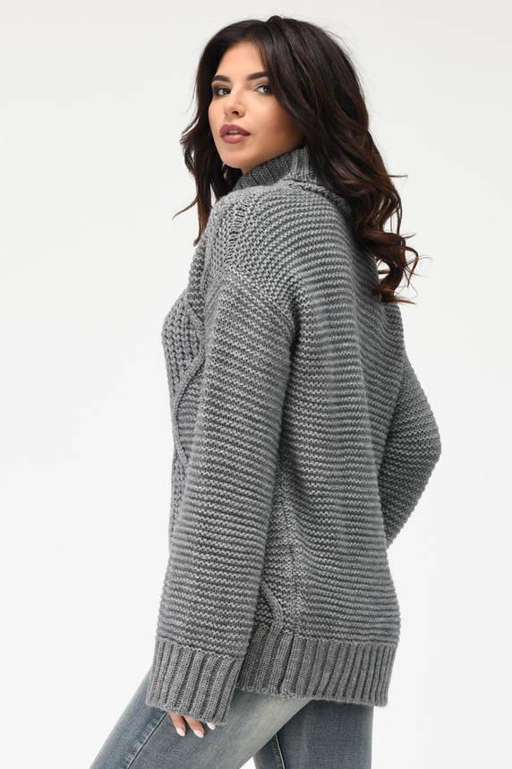 Вязаный женский свитер под горло серый, фото 2