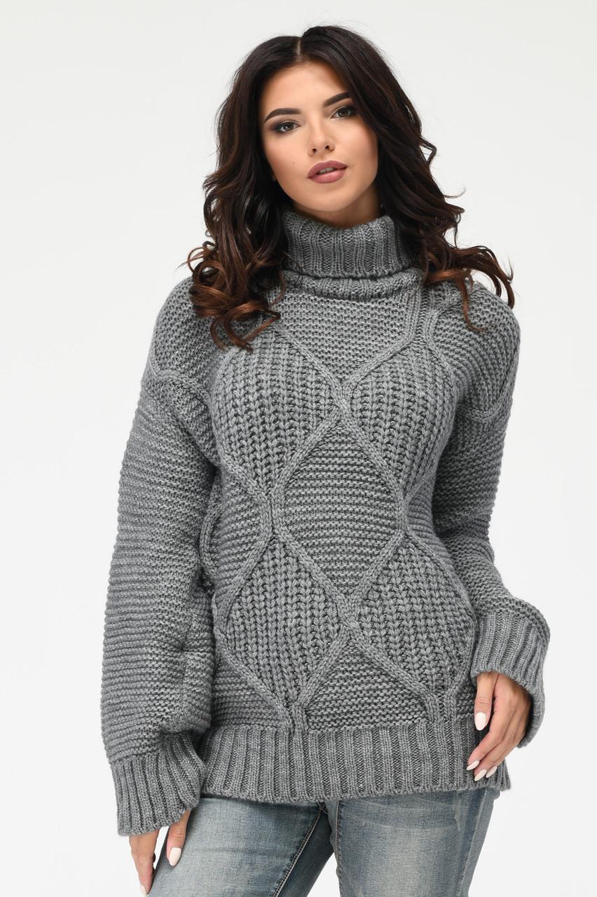Вязаный женский свитер под горло серый