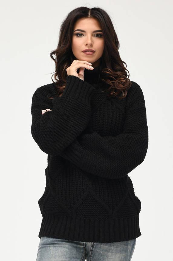 Вязаный женский свитер под горло черный, фото 2