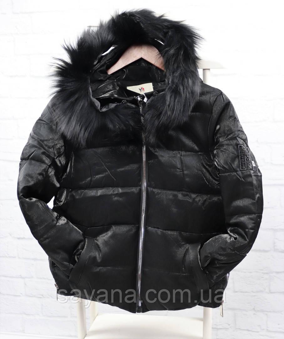Жіноча куртка з плащової тканини з капюшоном і хутром. БР-10-1018