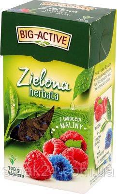 Чай зеленый Big Aktiv с малиной и лепестками ноготка Польша 100г