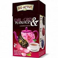 Оздоровительный чай черный листовой Big Activ с лепестками розы и лепестками ноготка Польша 80г