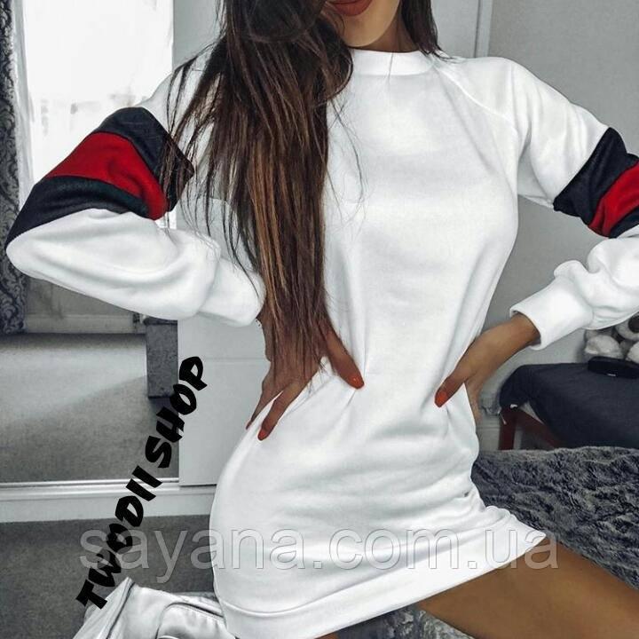 Женское платье-туника с контрастной вставкой в расцветках. АС-1-1018