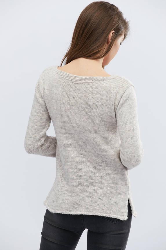 Женский трикотажный свитер светло-серый, фото 2