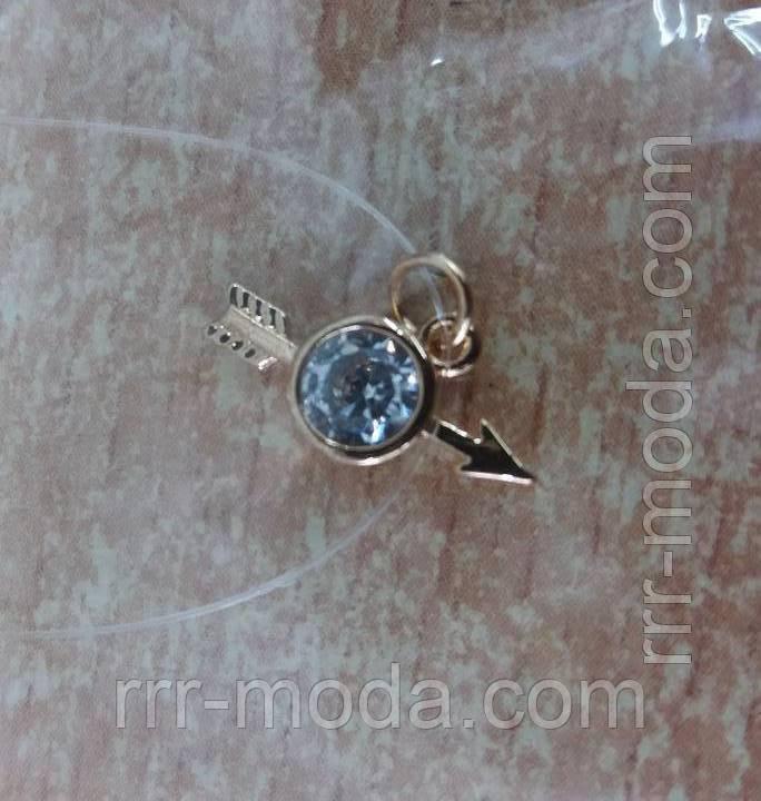 Маленькие подвески кристаллы из стали с цирконием на силиконовой нити. 265