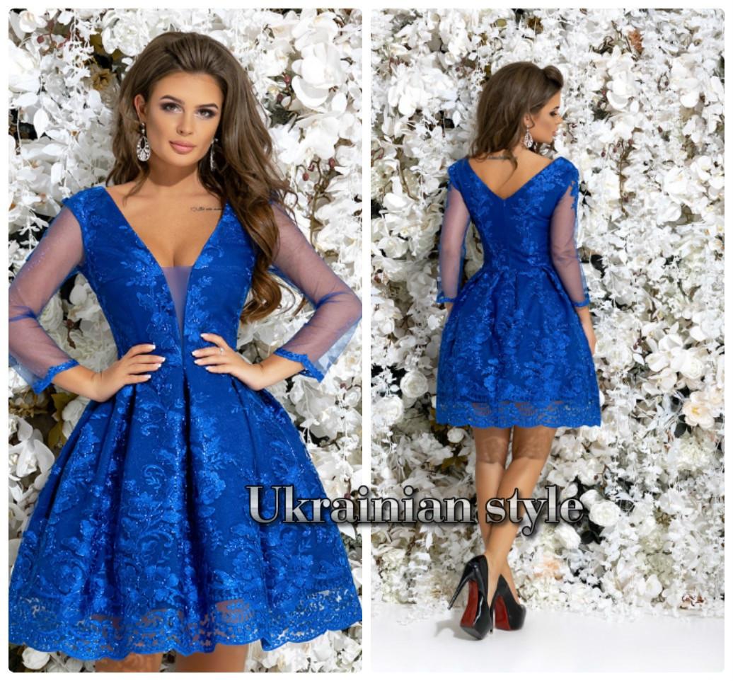 616dc3f57e9 Короткое вечернее гипюровое платье с пышной юбкой. 4 цвета! -  Интернет-магазин