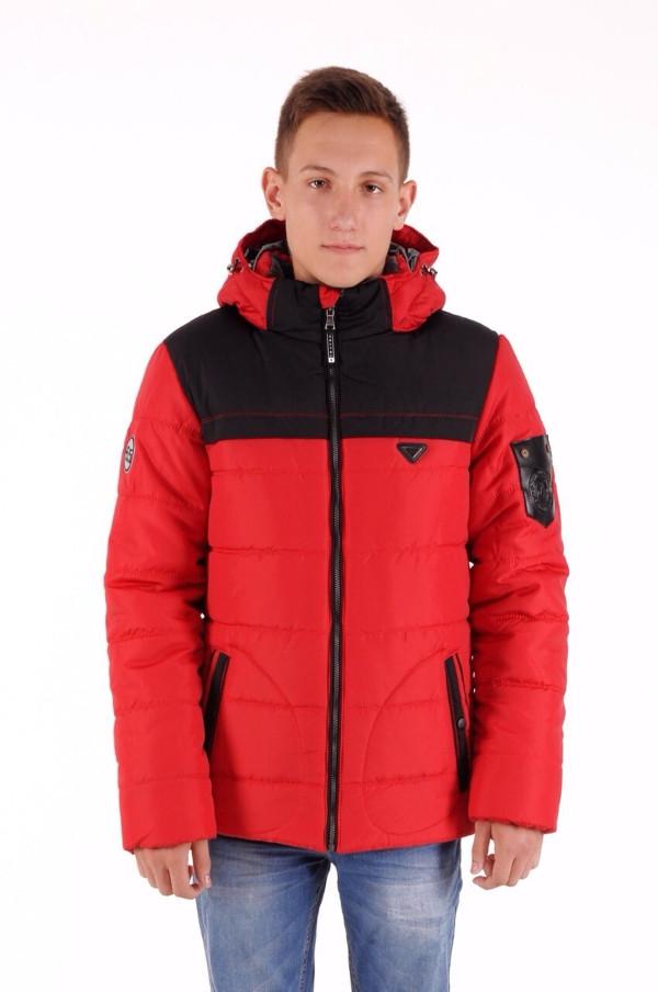 Куртка зимняя для мальчика, рост 146 - 164 см, разные расцветки, Красный-черный
