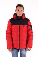 Куртка зимняя для мальчика, рост 146 - 164 см, разные расцветки, Красный-черный, фото 1