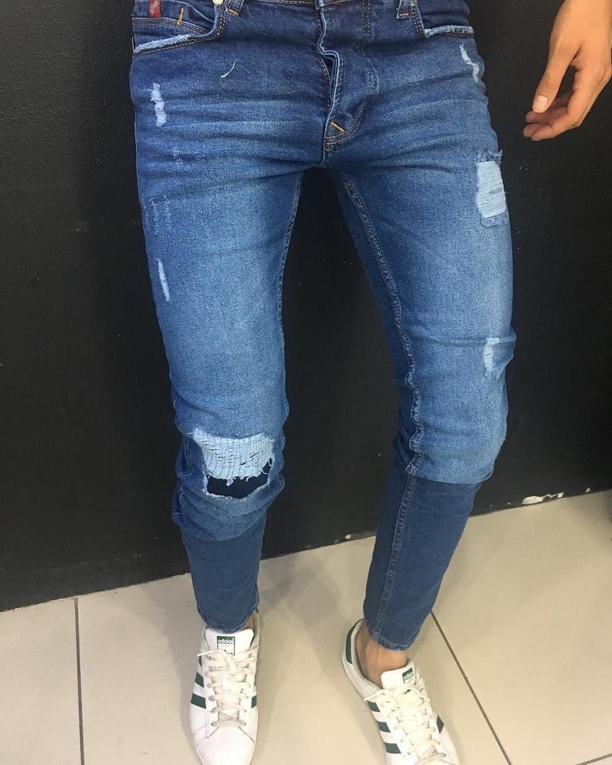 6ace416ce70 Джинсы синие мужские рваные на коленях зауженные - Интернет-магазин товаров  для всей семьи
