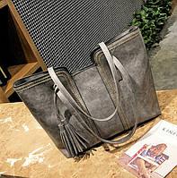 Стильная женская сумка серая эко-кожа