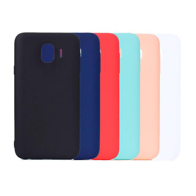 Цветной силиконовый чехол Samsung J4 Розовый