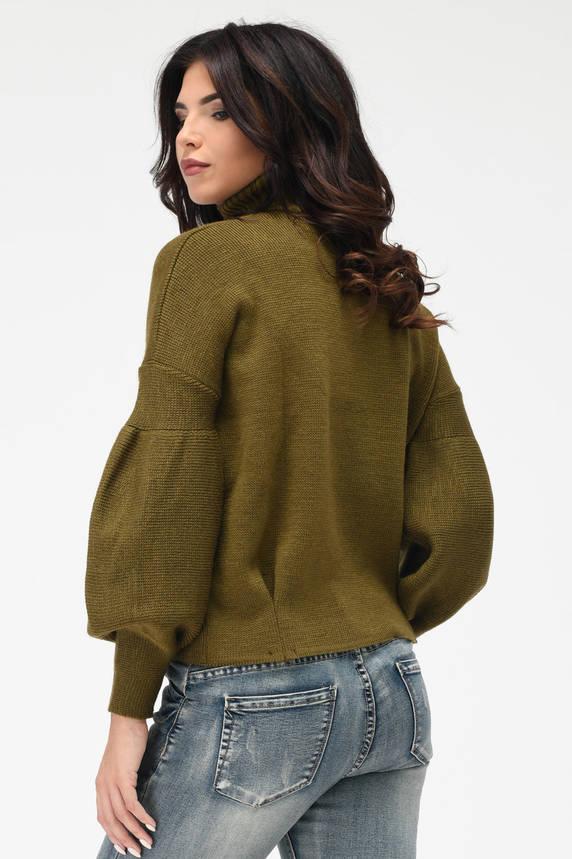 Теплый вязаный свитер под горло хаки, фото 2